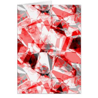 Polygone géométrique de rouge, blanc et gris cartes de vœux