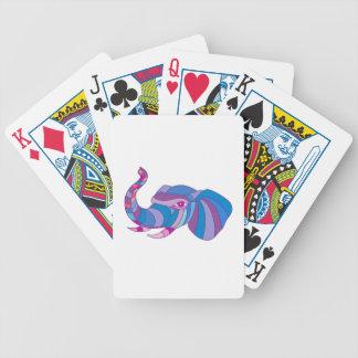 Polygone latéral principal d'éléphant bas cartes à jouer