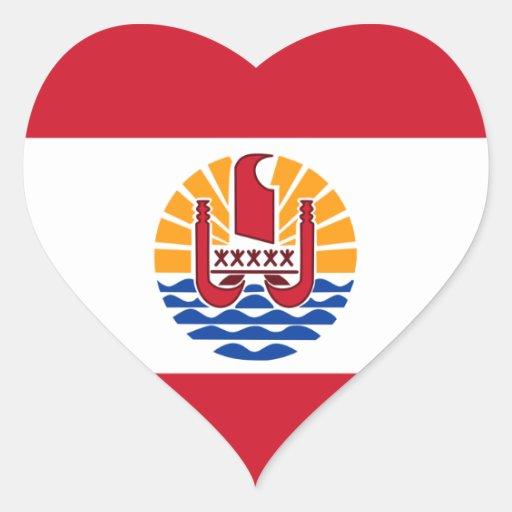 Polynésie française autocollants en cœur