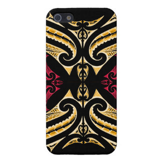 Polytat maori tribal rouge jaune de dessin de étui iPhone 5
