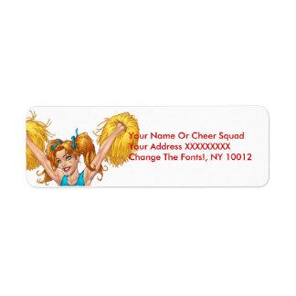 Pom-pom girl ou Cheerleading avec des Pom-Poms - Étiquette D'adresse Retour