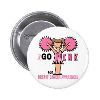 Pom-pom girl pour la conscience de cancer du sein badge