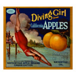 Pommes de la Californie de marque de fille de plon Posters