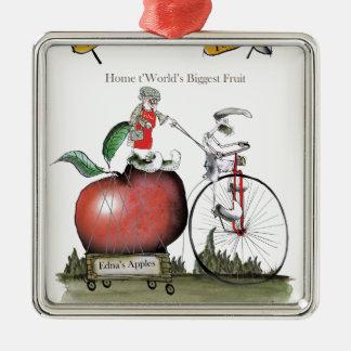 Pommes de Yorkshire d'amour grandes Ornement Carré Argenté