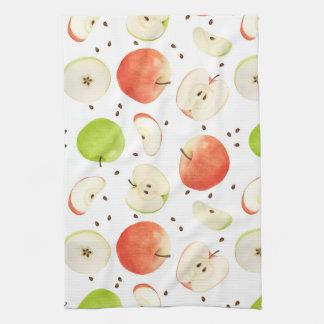 Pommes en serviettes de plat d'aquarelle