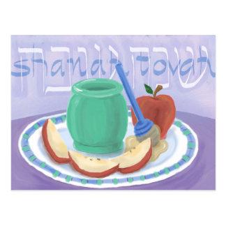Pommes et carte de Rosh Hashanah de miel