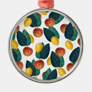 Pommes et citrons ornement rond argenté