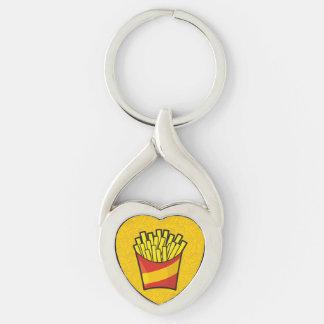 Pommes frites porte-clé argenté cœur torsadé