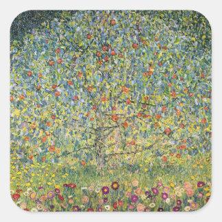Pommier Par Gustav Klimt, art vintage Nouveau Sticker Carré