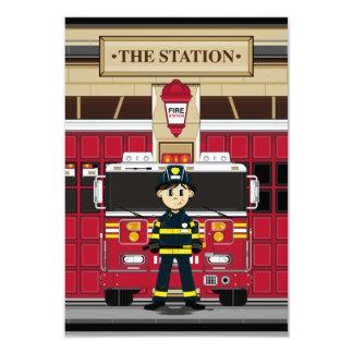 Pompier avec la carte de la pompe à incendie RSVP Carton D'invitation 8,89 Cm X 12,70 Cm