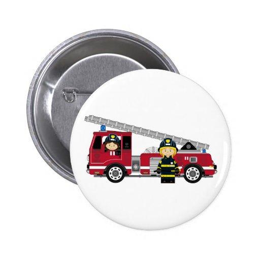 Pompier de bande dessinée et pompe à incendie mign badge