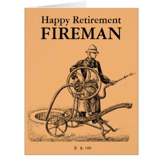 Pompier heureux L carte de retraite d'arroseuse