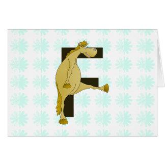 Poney de la lettre F de monogramme Carte De Vœux