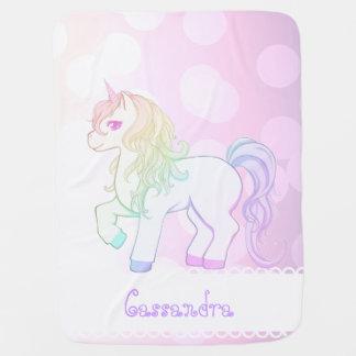 Poney de licorne coloré par arc-en-ciel mignon de couvertures pour bébé