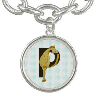 Poney flexible du monogramme P personnalisé Bracelet Avec Breloques