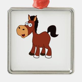 poney rouge de cheval ornement carré argenté