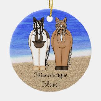 Poneys personnalisés d'île de Chincoteague - Ornement Rond En Céramique