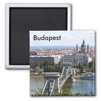 Pont à chaînes de Szechenyi, Budapest, Hongrie, Bu Magnet Carré