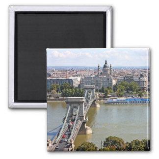 Pont à chaînes de Szechenyi, Budapest, Hongrie Magnet Carré