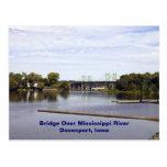 Pont au-dessus du fleuve Mississippi Davenport, Io Cartes Postales