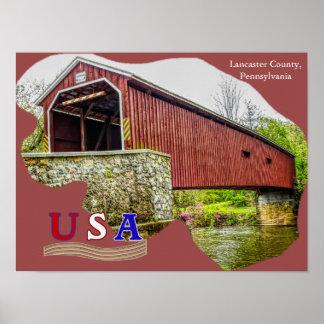 Pont couvert - art d'affiche -- PA du comté de Posters