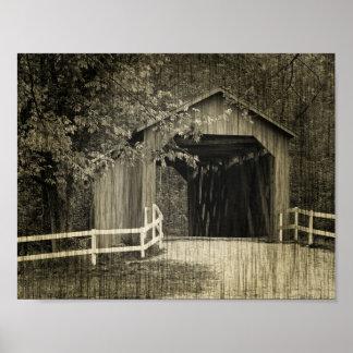 Pont couvert de crique de Sandy de ton de sépia Poster