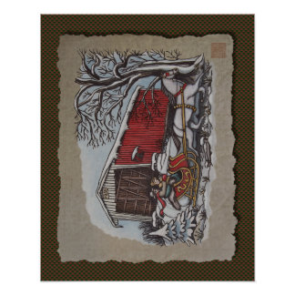 Pont couvert et Sleigh Poster