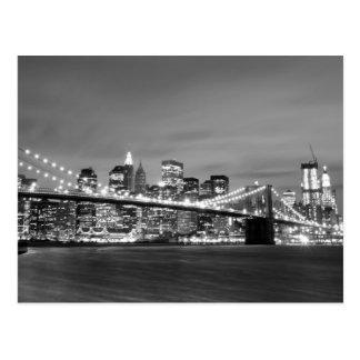 Pont de Brooklyn la nuit, New York City Carte Postale