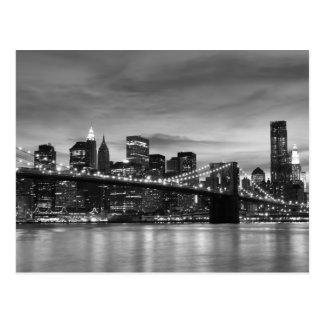 Pont de Brooklyn la nuit, New York City Cartes Postales