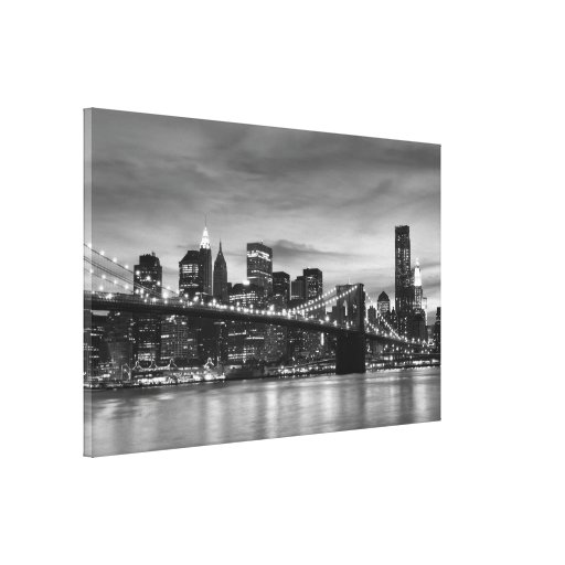 Pont de brooklyn la nuit new york city toile tendue sur ch ssis zazzle - Toile pont de brooklyn ...