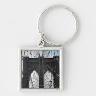 Pont de Brooklyn, New York, NY Etats-Unis Porte-clé Carré Argenté