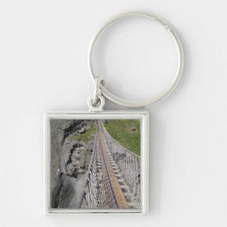 Pont de corde historique de Carrick-a-rede, du nor Porte-clé Carré Argenté
