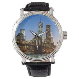 Pont de Manhattan et de Brooklyn au crépuscule Montres Bracelet