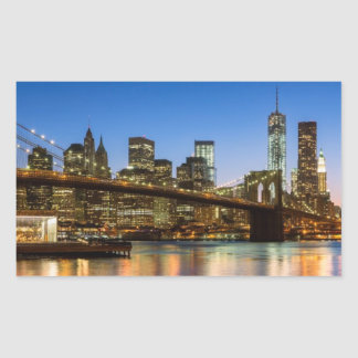 Pont de Manhattan et de Brooklyn au crépuscule Sticker Rectangulaire