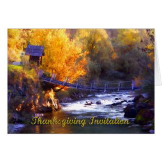 Pont de thanksgiving au-dessus d'invitation de carte de vœux