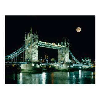 Pont de tour la nuit, Londres, Angleterre Carte Postale