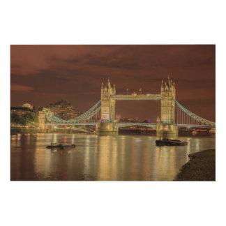 Pont de tour la nuit, Londres Impression Sur Bois