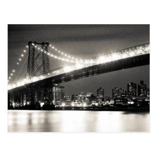 Pont de Williamsburg à New York City la nuit Carte Postale