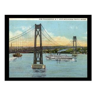 Pont du Mi-Hudson, cru 1930 de Poughkeepsie Carte Postale
