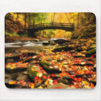 Pont en bois et crique dans l'automne tapis de souris