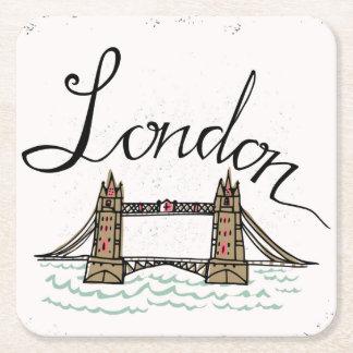 Pont en lettres de Londres de main Dessous-de-verre Carré En Papier