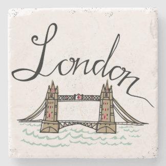 Pont en lettres de Londres de main Dessous-de-verre En Pierre