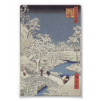 Pont en tambour chez Meguro, par Ando Hiroshige Poster