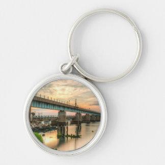Pont en train de Rockaway Porte-clé Rond Argenté