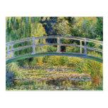 Pont japonais de Monet avec la carte postale de né