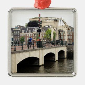 Pont maigre, Amsterdam, Hollande Ornement Carré Argenté