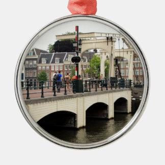 Pont maigre, Amsterdam, Hollande Ornement Rond Argenté