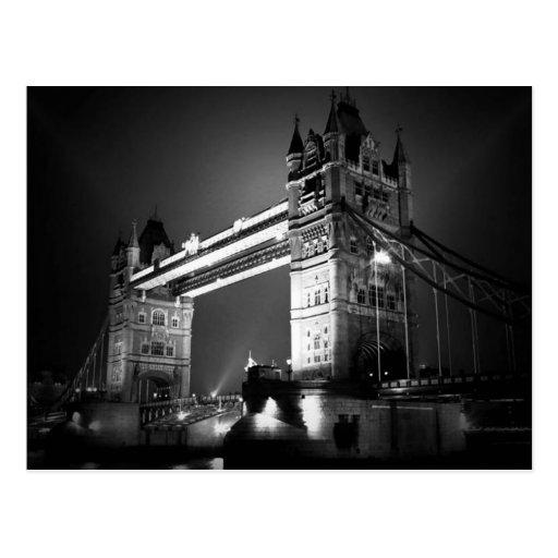 Pont noir et blanc de BW de Londres de tour Carte Postale