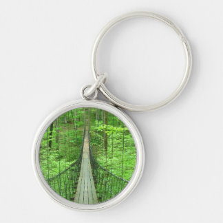 Pont suspendu porte-clé rond argenté