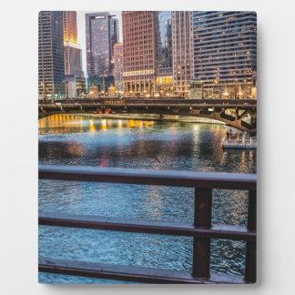 Ponts et lumières de Chicago Plaque Photo